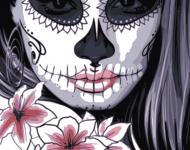 skull face girl