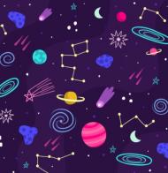 maseczka kolorowa ze wzorem kosmos