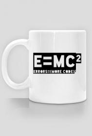 Kubek - e=mc2 - errors = (more code)2 - koszulki informatyczne, koszulki dla programisty i informatyka - dziwneumniedziala.cupsell.pl
