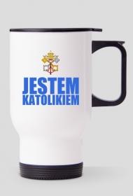 KUBEK TERMICZNY - CZERWONE-NIEBIESKIE LOGO