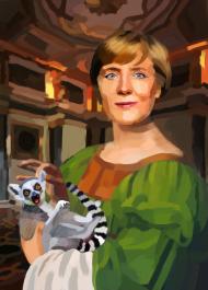 Angela Merkel z Lemurem