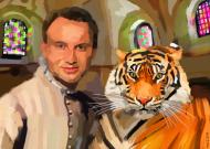 Portret Andrzeja Dudy z Tygrysem