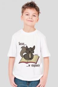 Koszulka chłopięca Siedzę w książkach (szynszyla)