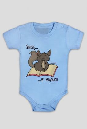 Body niemowlęce Siedzę w książkach (szynszyla)