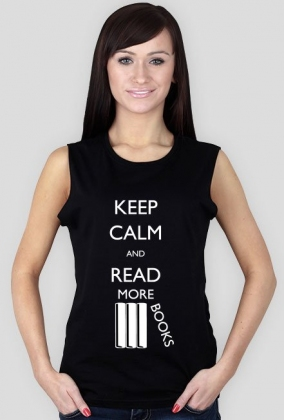 Koszulka damska bez rękawów (czarna) Keep calm