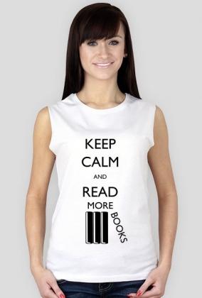 Koszulka damska bez rękawów (biała) Keep calm