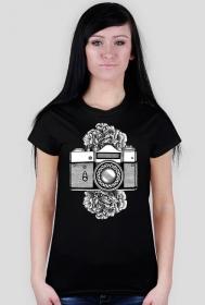 FLORAL CAMERA - koszulka z aparatem fotograficznym w Camwear   koszulki fotograficzne dla fotografów   floral vintage camera analog